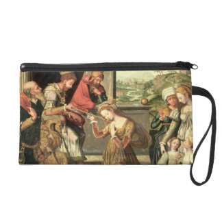 Esther before King Ahasuerus with Haman being sent Wristlet Purses