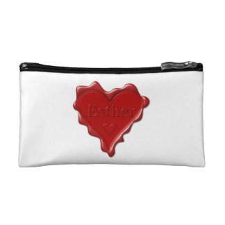 Esther. Red heart wax seal with name Esther Cosmetic Bag