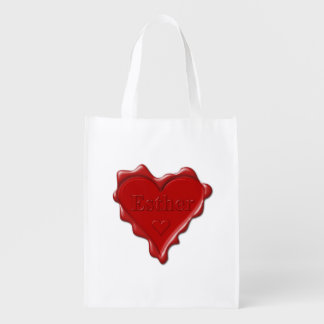 Esther. Red heart wax seal with name Esther Reusable Grocery Bag