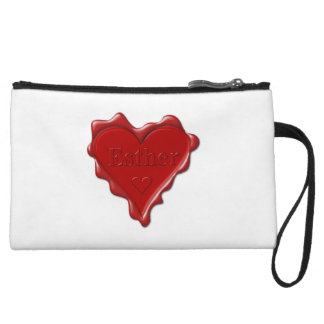 Esther. Red heart wax seal with name Esther Wristlet