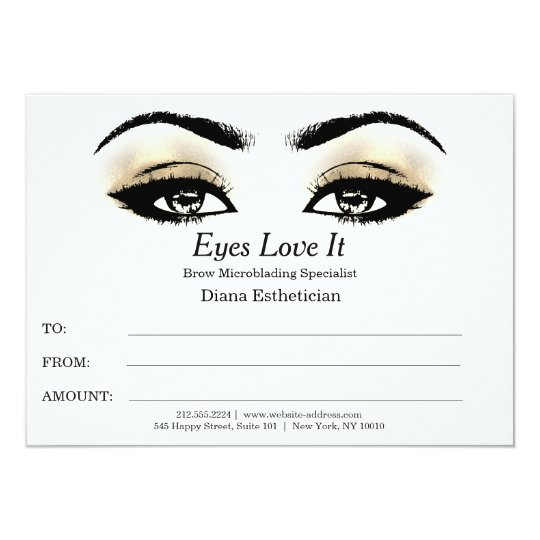 Esthetician Lashes Beauty Makeup Certificate Gift Card
