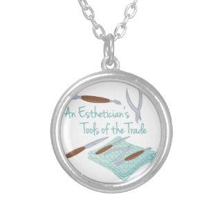 Estheticians Tools Round Pendant Necklace