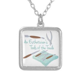 Estheticians Tools Square Pendant Necklace