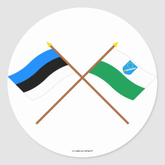 Estonia and Võru Waving Flags Classic Round Sticker