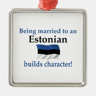 Estonia Builds Character Silver-Colored Square Decoration