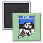 Estonia Cycling Panda Square Magnet
