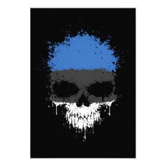 Estonia Dripping Splatter Skull Custom Invites