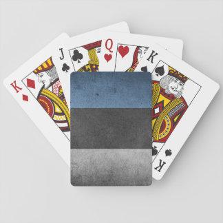 Estonia Flag Grunge Playing Cards