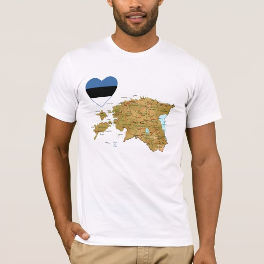 Estonia Flag Heart and Map T-Shirt