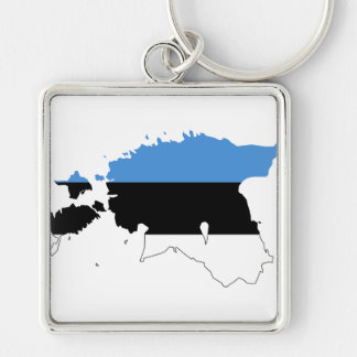Estonia Flag map EE Silver-Colored Square Key Ring
