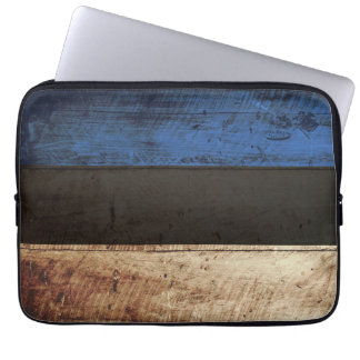 Estonia Flag on Old Wood Grain Laptop Sleeves