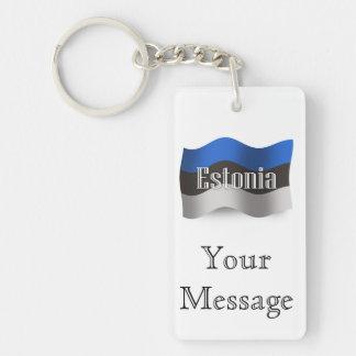 Estonia Waving Flag Double-Sided Rectangular Acrylic Key Ring
