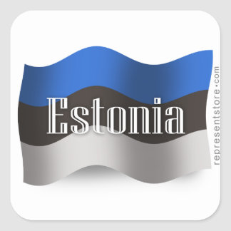 Estonia Waving Flag Square Sticker