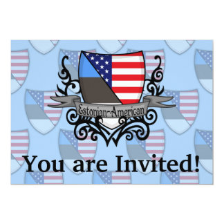 Estonian-American Shield Flag 13 Cm X 18 Cm Invitation Card