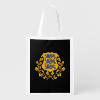 Estonian coat of arms reusable grocery bag