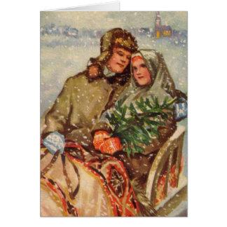 Estonian Couple on Sled Card