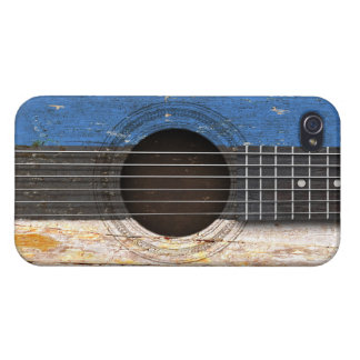 Estonian Flag on Old Acoustic Guitar iPhone 4 Cover