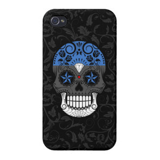 Estonian Flag Sugar Skull with Roses iPhone 4/4S Cases