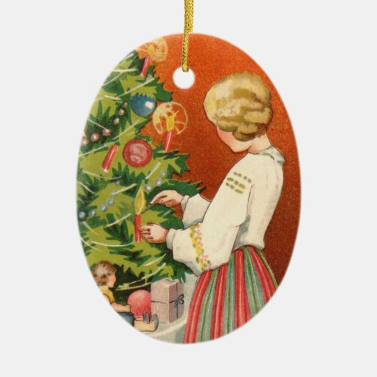 Estonian Girl at Christmas Tree Ornament