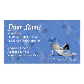 Estonian Girl Silhouette Flag Business Card Template