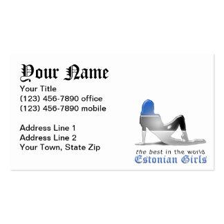 Estonian Girl Silhouette Flag Business Card
