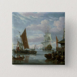 Estuary Scene with Boats and Fisherman 15 Cm Square Badge
