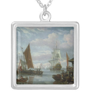 Estuary Scene with Boats and Fisherman Silver Plated Necklace