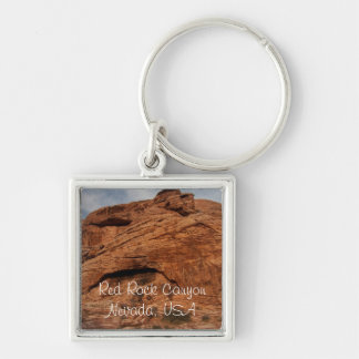 Etched by Time; Nevada Souvenir Silver-Colored Square Key Ring