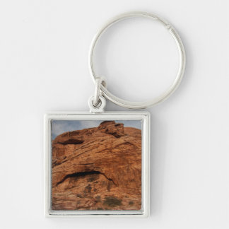 Etched by Time; No Text Silver-Colored Square Key Ring