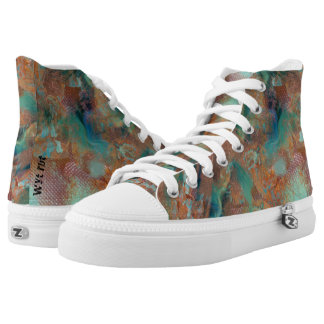 Etched Copper High Tops Printed Shoes