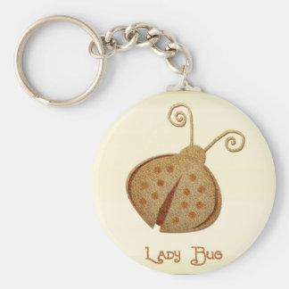 Etched Copper Ladybug Basic Round Button Key Ring