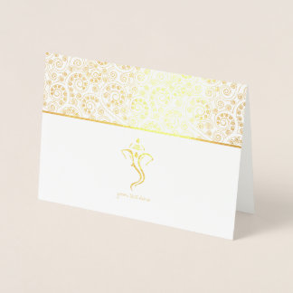 Etched Gold Foil Ganesh Indian Wedding Cards