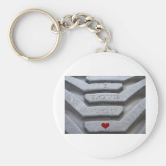 Etched in Stone Basic Round Button Key Ring