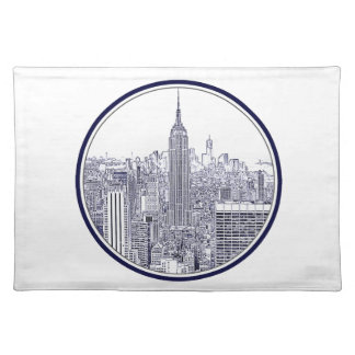 Etched Look NYC Skyline, Round Frame Placemat