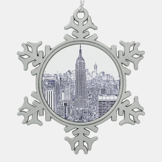 Etched Look NYC Skyline, Round Frame Snowflake Pewter