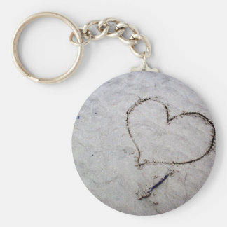 Etched Love Basic Round Button Key Ring