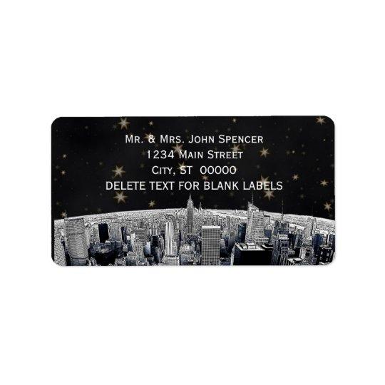 Etched NYC Skyline 2 Black Gold Star H Address Label