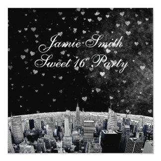 Etched NYC Skyline #2 Black White Heart Sweet 16 13 Cm X 13 Cm Square Invitation Card