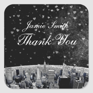 Etched NYC Skyline 2 Black White Heart Thank You Sticker