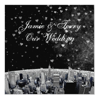 Etched NYC Skyline #2 Black White Heart Wedding Card