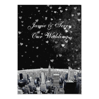 Etched NYC Skyline #2 Black Wht Heart Wedding Card