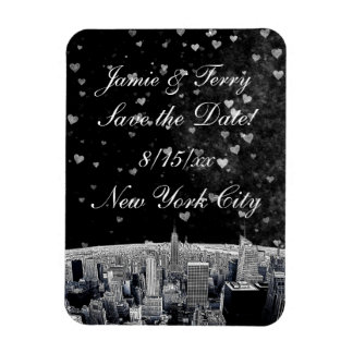 Etched NYC Skyline #2 Black Wt Heart Save the Date Rectangular Photo Magnet