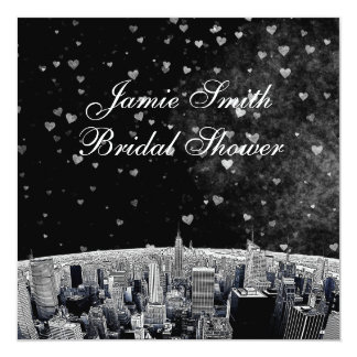 """Etched NYC Skyline #2 Blk Wht Heart Bridal Shower 5.25"""" Square Invitation Card"""