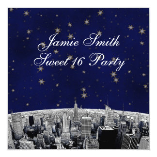 Etched NYC Skyline 2 Blue Gold Star Sweet 16 Party 13 Cm X 13 Cm Square Invitation Card