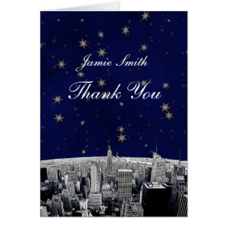 Etched NYC Skyline 2 Blue Gold Star Thank You Card