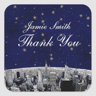 Etched NYC Skyline 2 Blue Gold Star Thank You Sticker