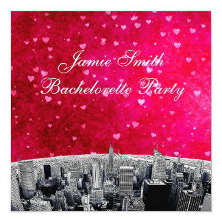Etched NYC Skyline #2 Pink Red Heart Bachelorette Card
