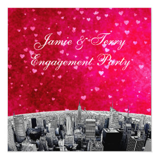 Etched NYC Skyline #2 Pink Red Heart Engagement 13 Cm X 13 Cm Square Invitation Card