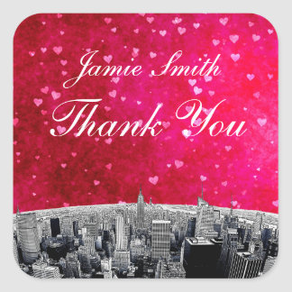 Etched NYC Skyline #2 Pink Red Heart Thank You Square Sticker