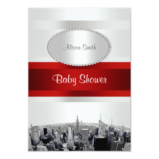 Etched NYC Skyline 2P White BG Red Rbn Baby Shower 13 Cm X 18 Cm Invitation Card